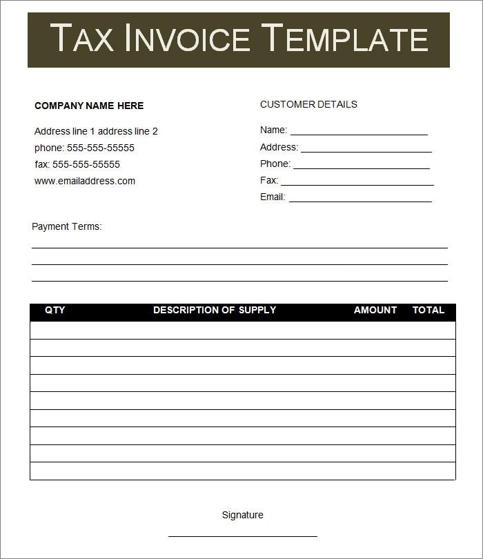 Tax Invoice Template Download In Word And PDF Format  Basic Tax Invoice Template