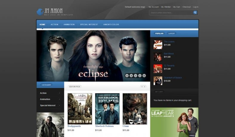 ECommerce Magento Theme for Entertainment