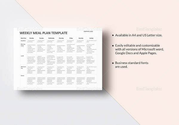 14 meal planning template free premium templates