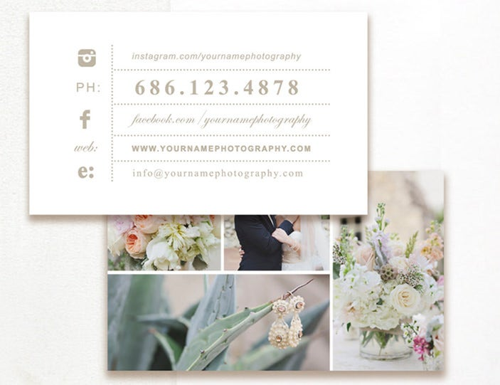 editable photography business card
