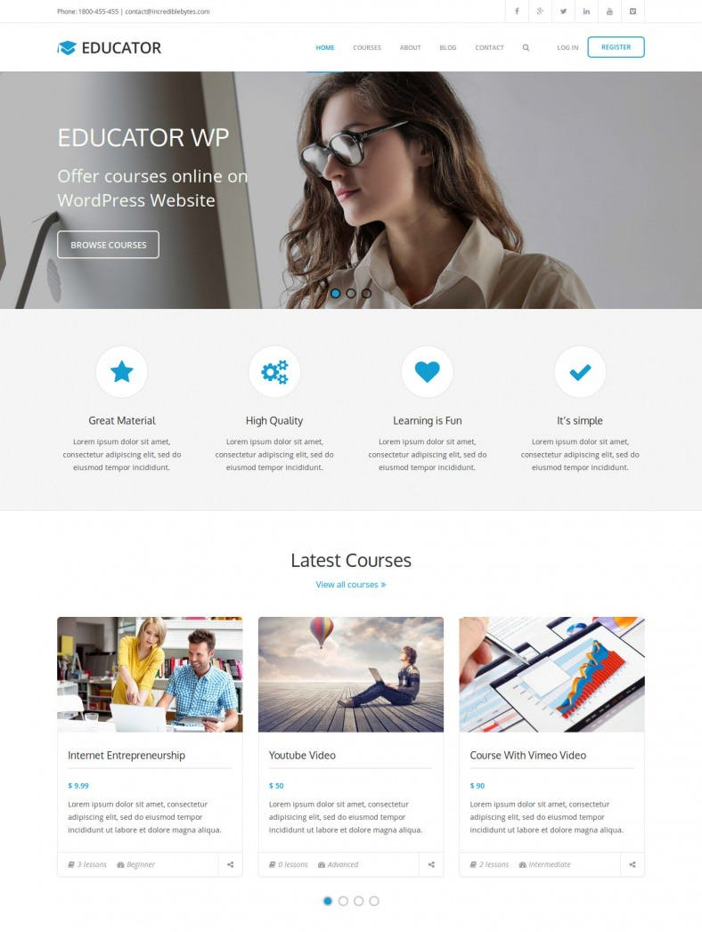 Learning Management System Theme for WordPress