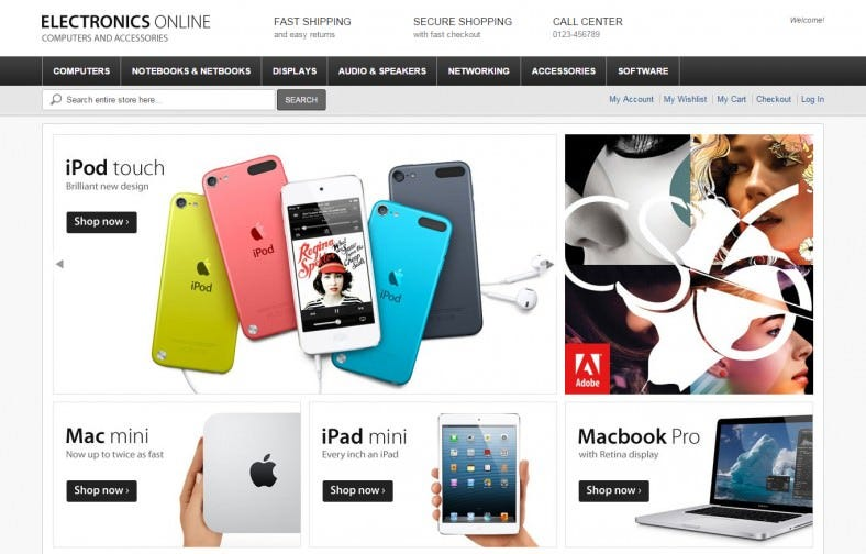 Electronics Online Magento Template Free Download