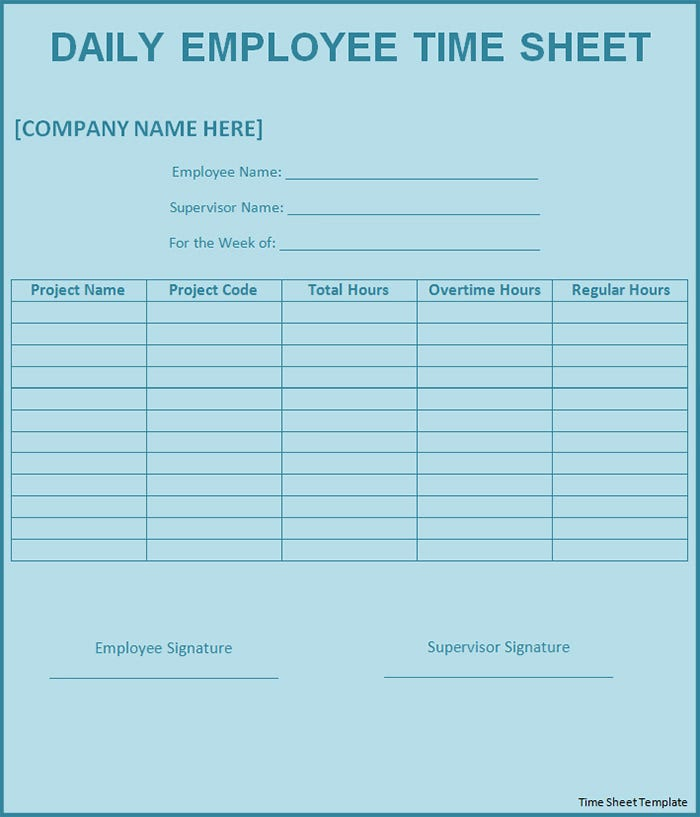 Sample Timesheet Template