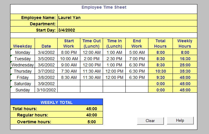 39 Timesheet Templates Free Sample Example Format – Time Sheet Templates