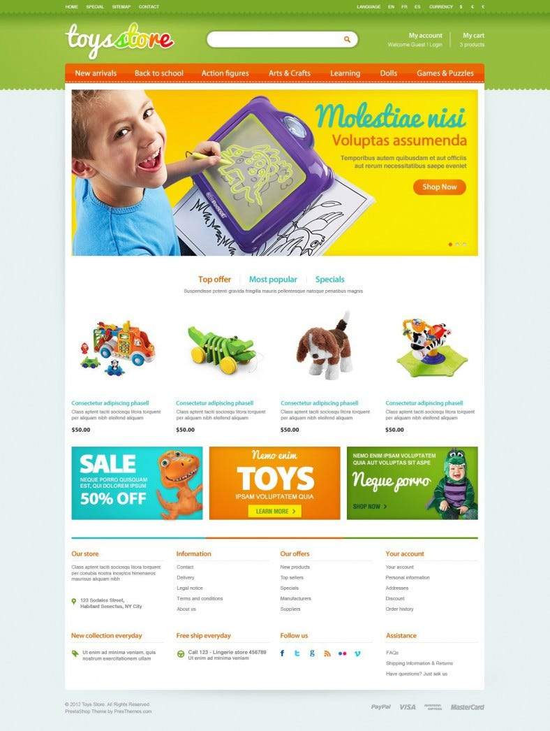 entertainment toys store prestashop template 788x1046