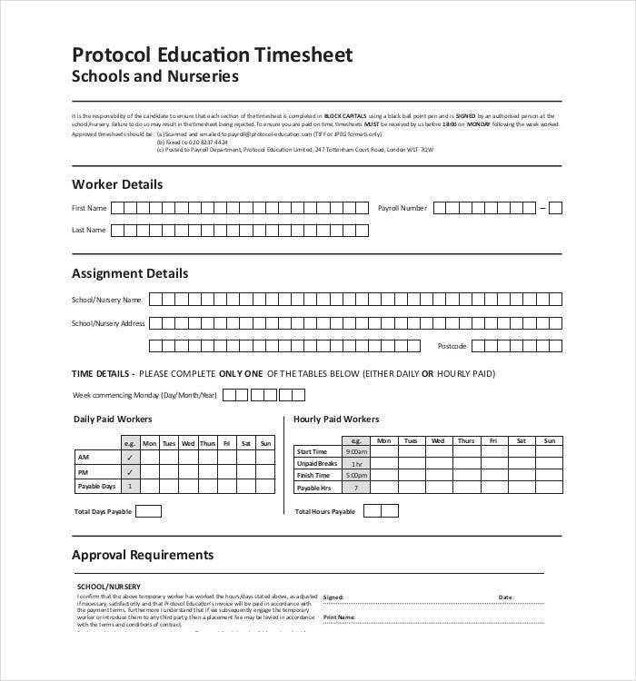 Timesheet templates 11 free printable word pdf formats for Protocol document template