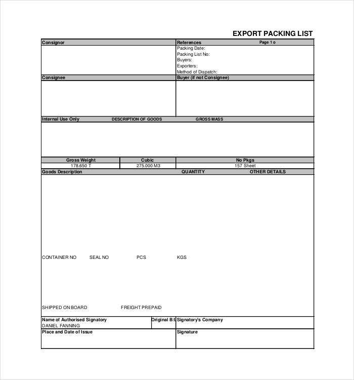 export packing list template