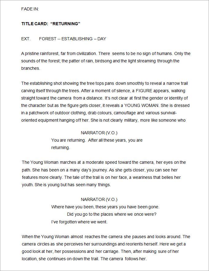 screenplay format word