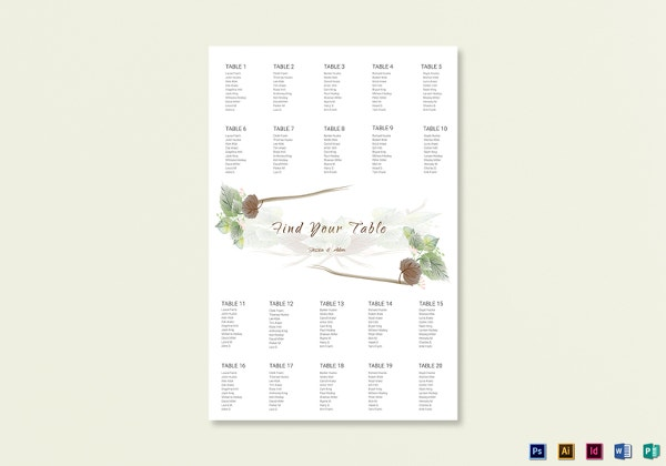 fall wedding seating chart word template