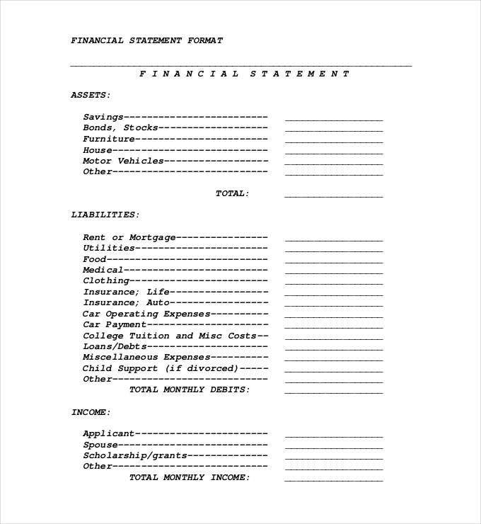 Financial Statement Template 20 Free PDF Excel Word Documents – Asset and Liability Statement Template