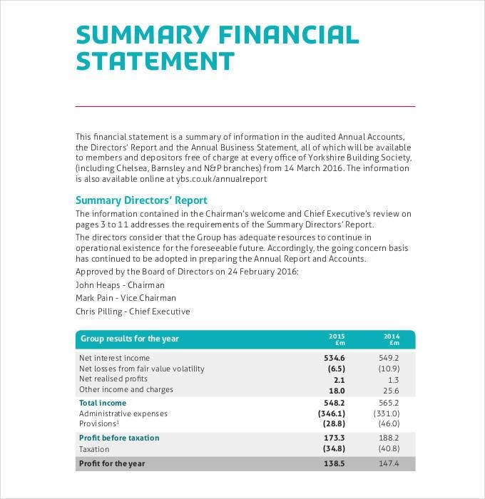 financial statement summary sample1