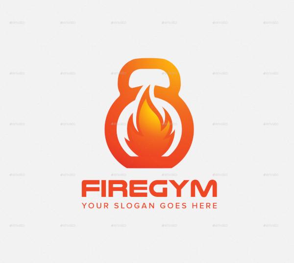 fire gym fitness logo