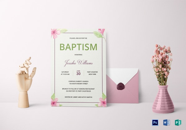floral baptism invitation card template