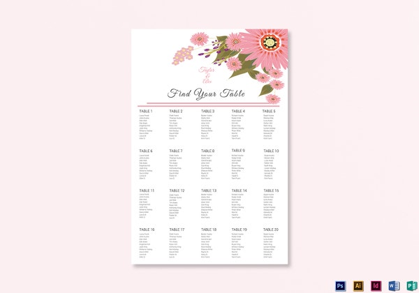 floral wedding seating chart illustrator template