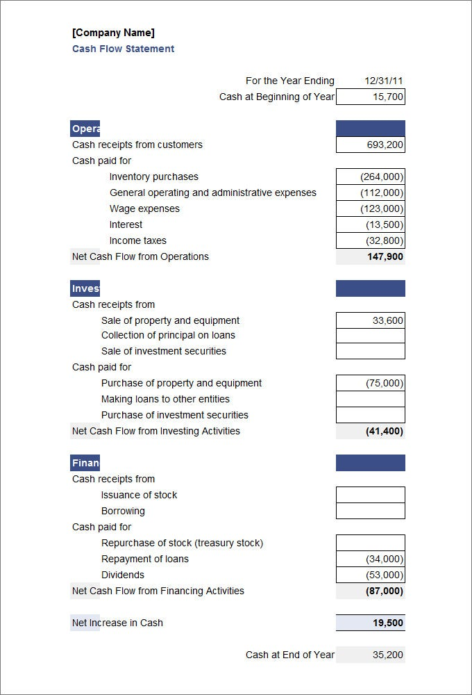 Cash Flow Statement Template  Free  Premium Templates
