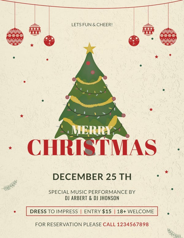 free christmas party promotion flyer