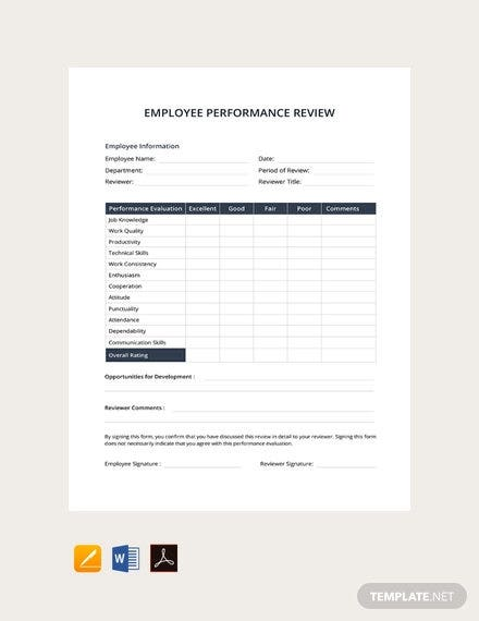 11+ Sample Performance Review Templates - PDF, DOC, Google