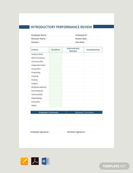 free-introductory-period-performance-review-template