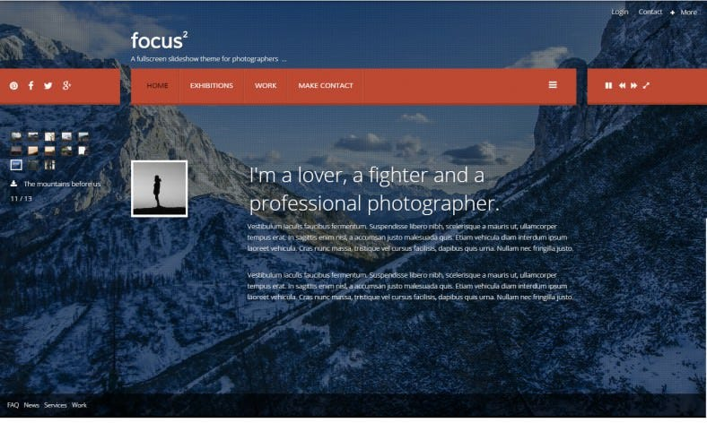 Free Photographers Joomla Website Template