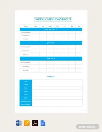 free sample weekly menu workout schedule template