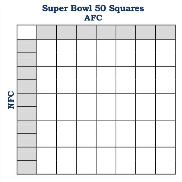 photo about Free Printable Super Bowl Squares Template named Tremendous Bowl Squares Template Free of charge High quality Templates