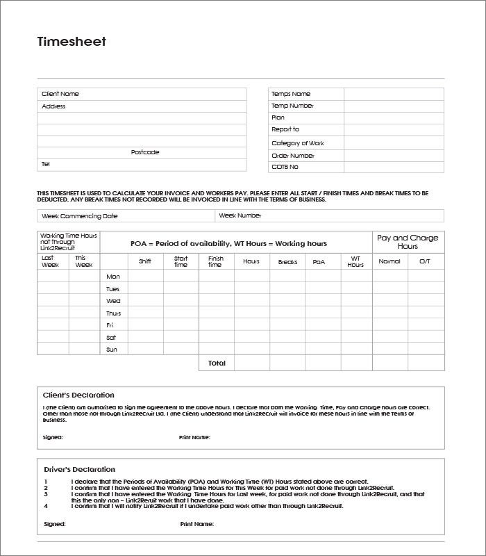 39 Timesheet Templates Free Sample Example Format – Sample Payroll Timesheet Calculator