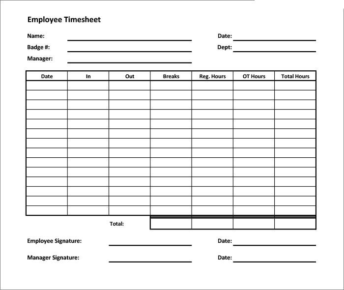 Blank Timesheet Template Weekly Timesheet Template Weekly – Time Card Template Free