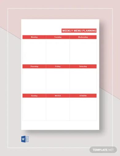 free weekly menu plan template