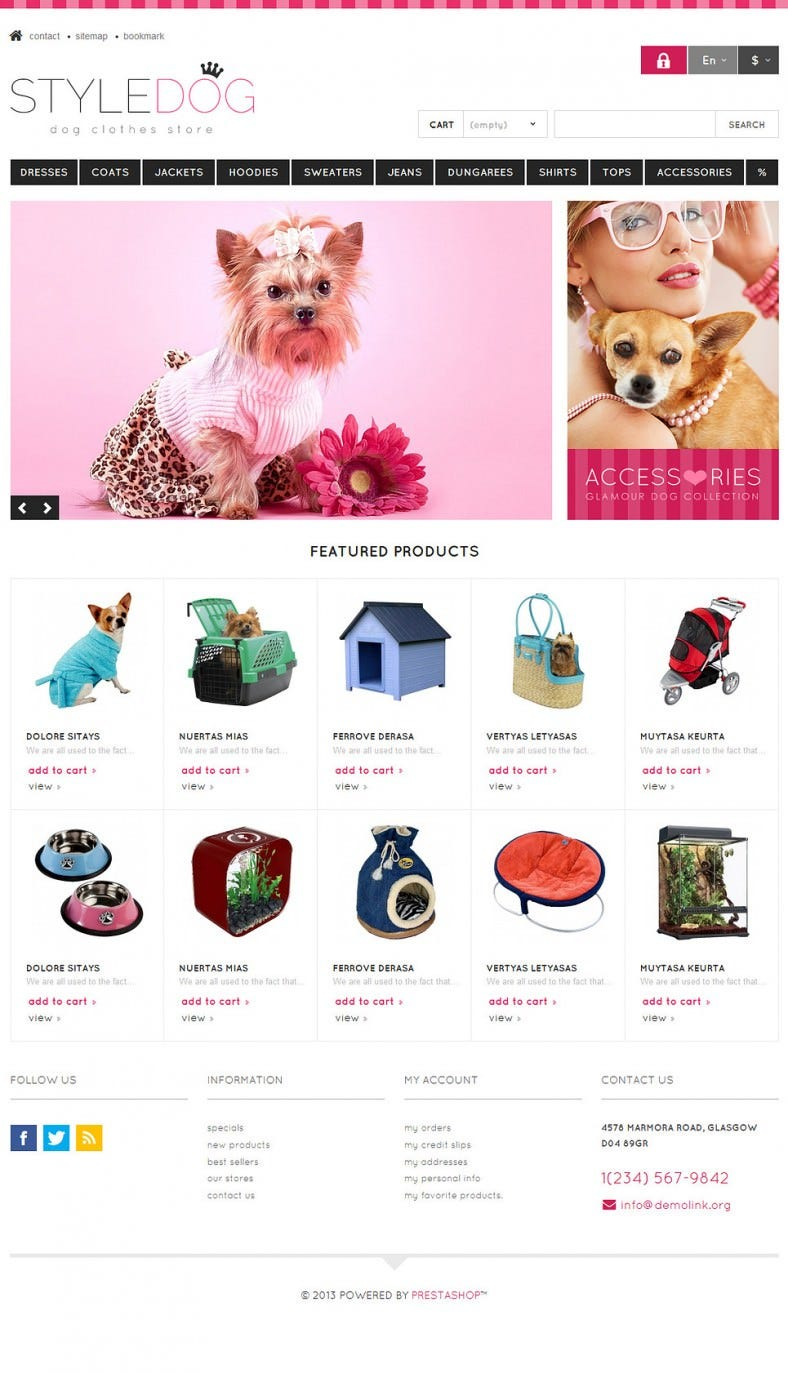 Fully Responsive Dog Style Store PrestaShop Template