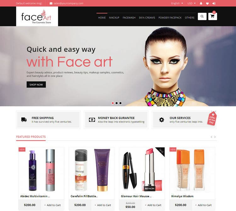 Fully Responsive Face Art Magento Theme