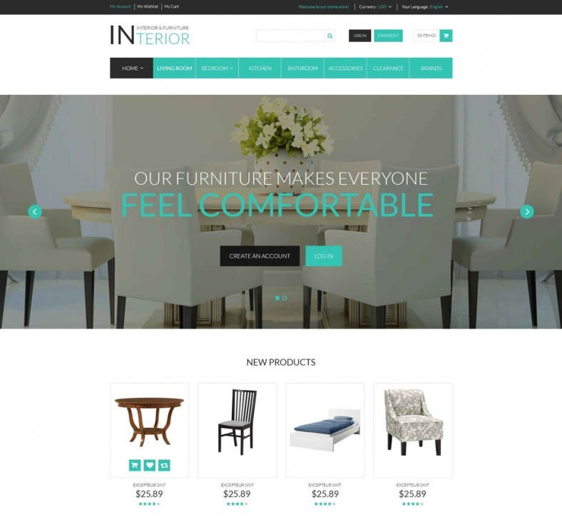 fully responsive interior designs magento template 788x725