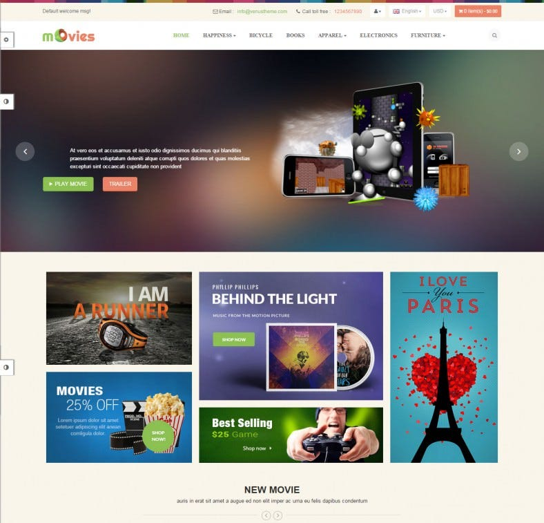 Fully Responsive Magento Theme for Entertainment