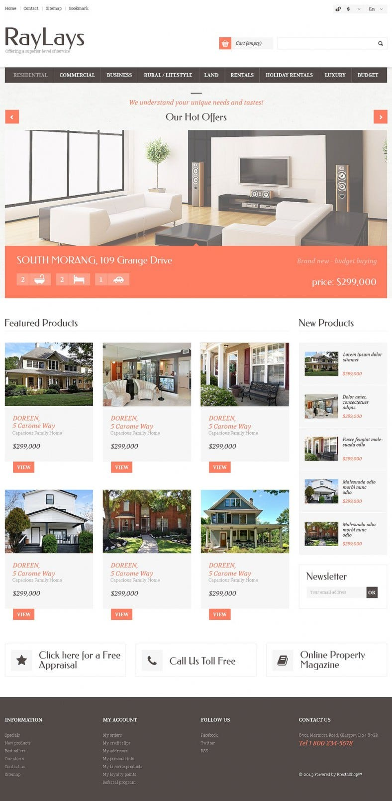 Fully Responsive Real Estate Store PrestaShop Theme