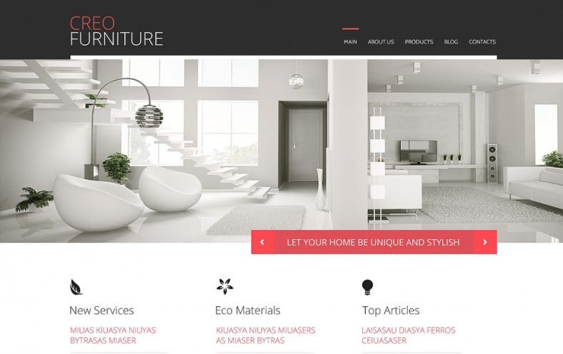 Furniture Responsive Parallax WordPress Theme