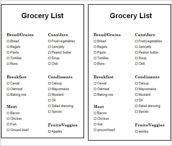 Grocery List Word