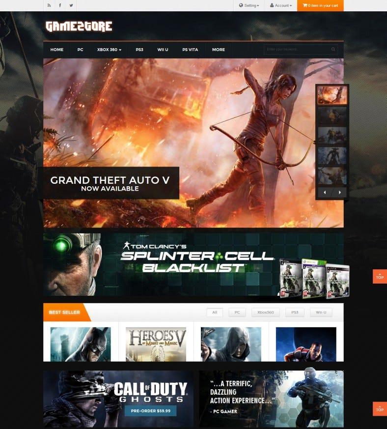 Game & Entertainment Store Magento Template
