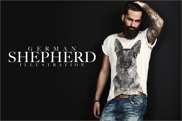 german shepherd t shirt template