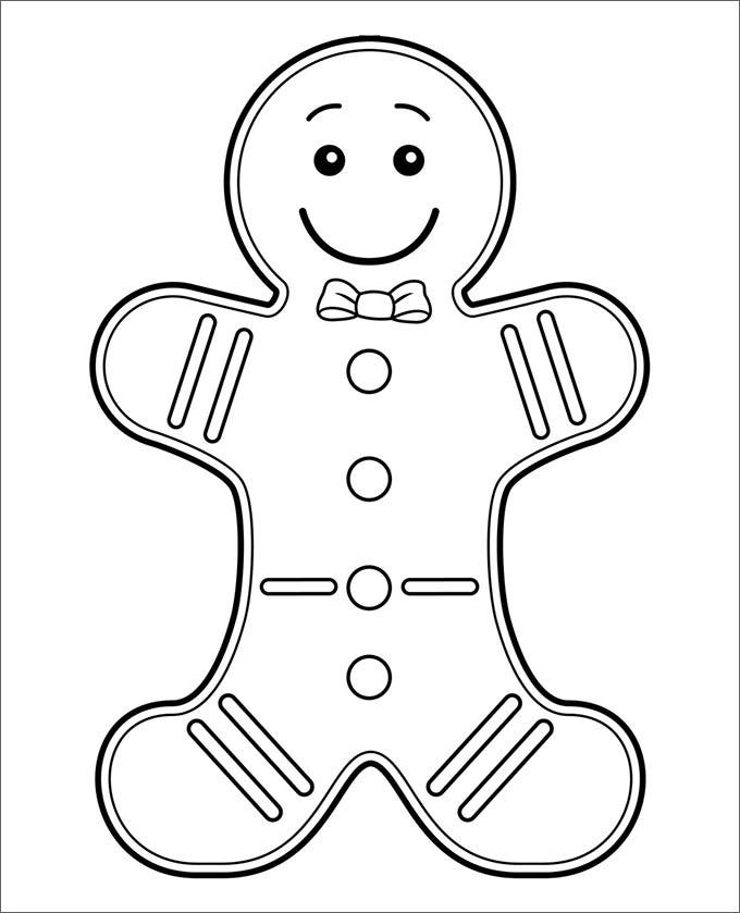 15+ GingerBread Man Templates & Colouring Pages | Free & Premium