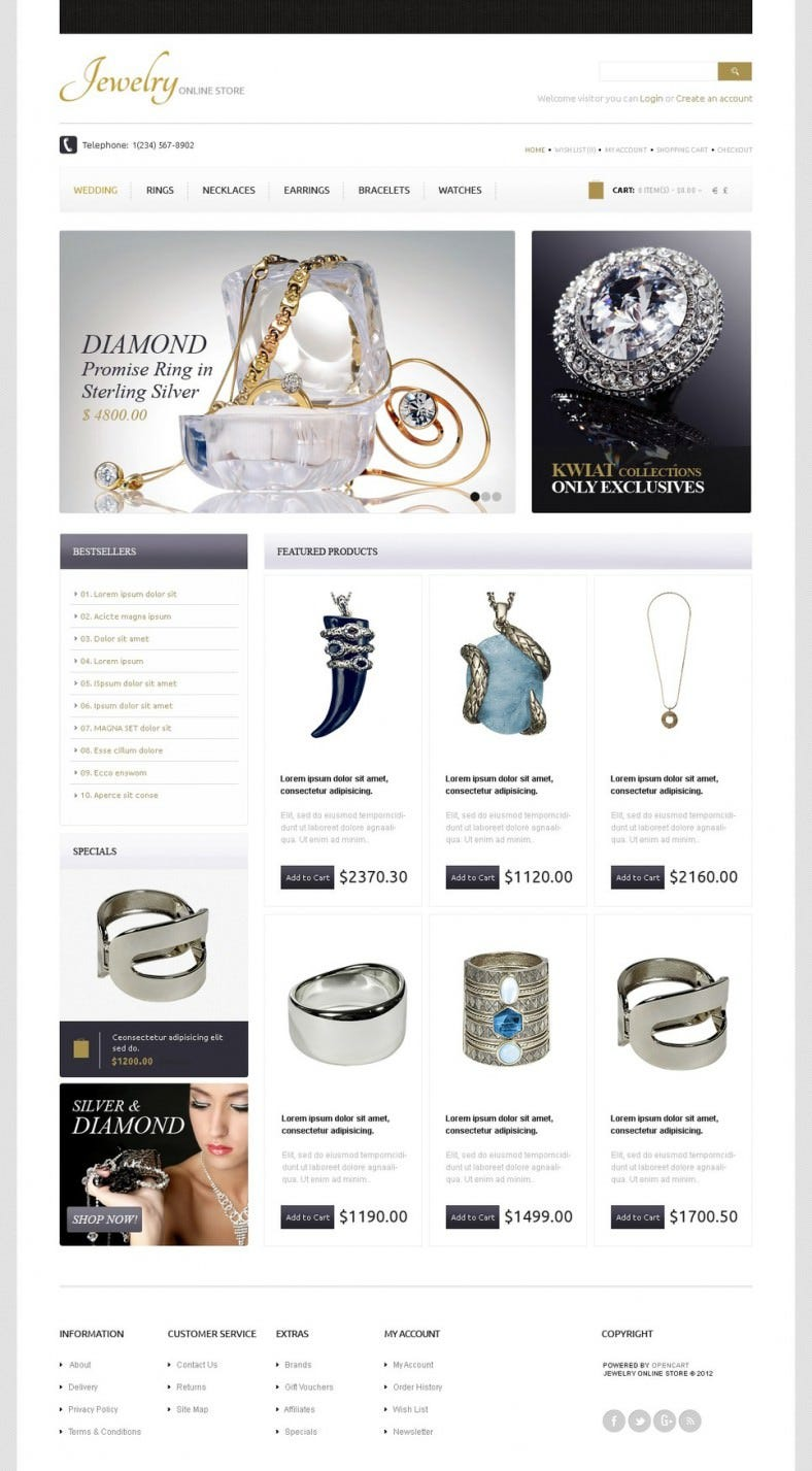 Gold & Diamonds OpenCart Template2