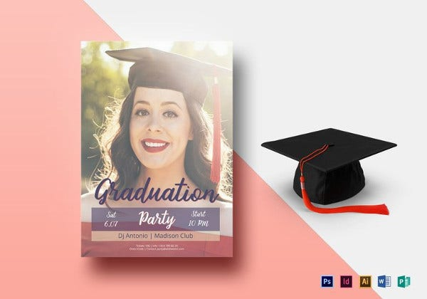 graduation night party flyer template