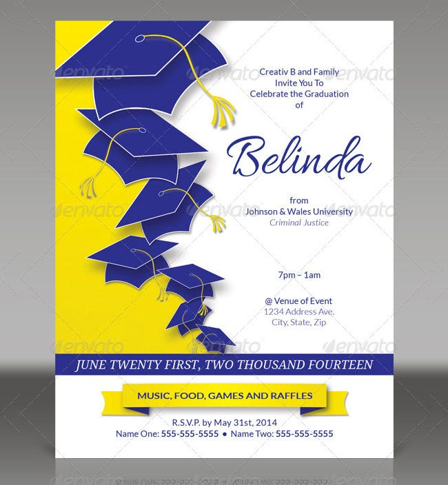 15+ graduation invitation templates - invitation templates | free, Party invitations