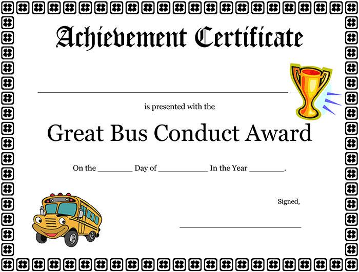 Great bus conduct award printable certificate