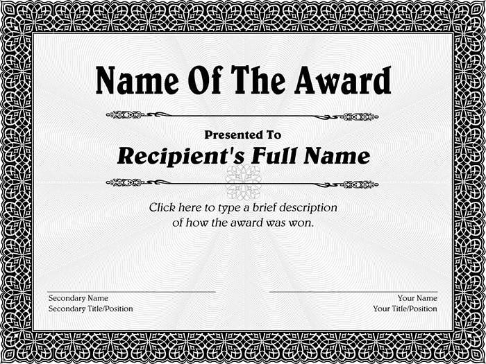 Sample Award Certificate Sample Award Certificate Award Certificate
