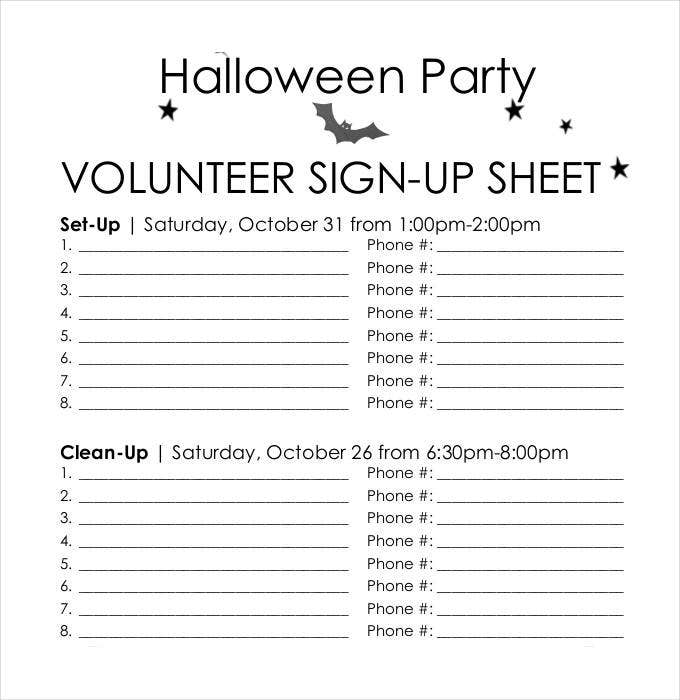 volunteer sign up sheet