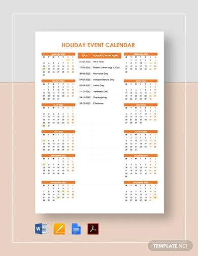holiday event calendar template
