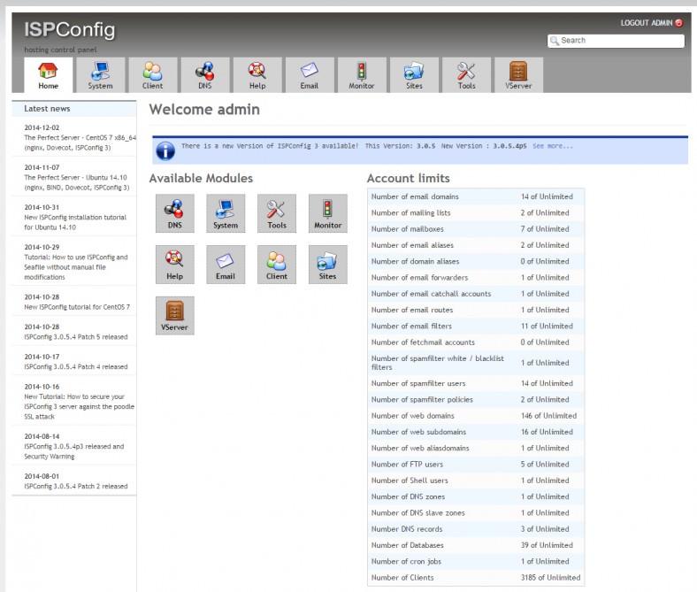 ISPConfig cPanel Design