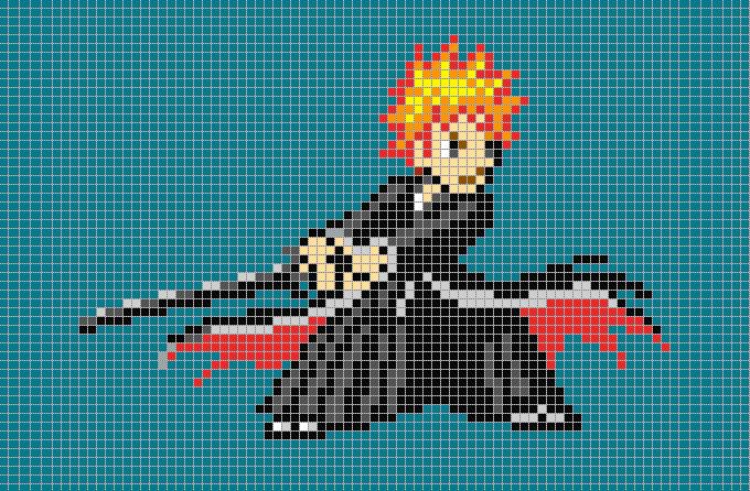 ichigo bankai pixel art template
