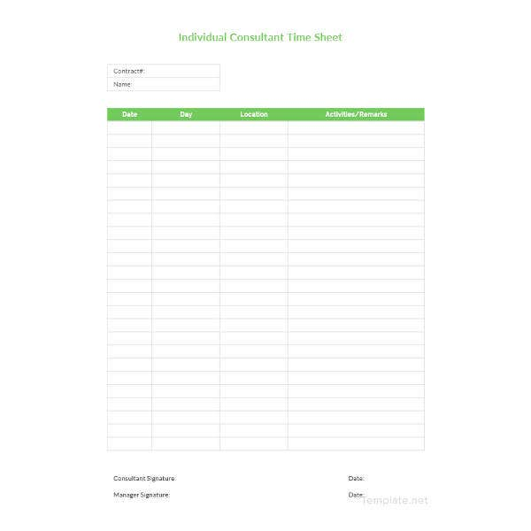 individual consultant time sheet template