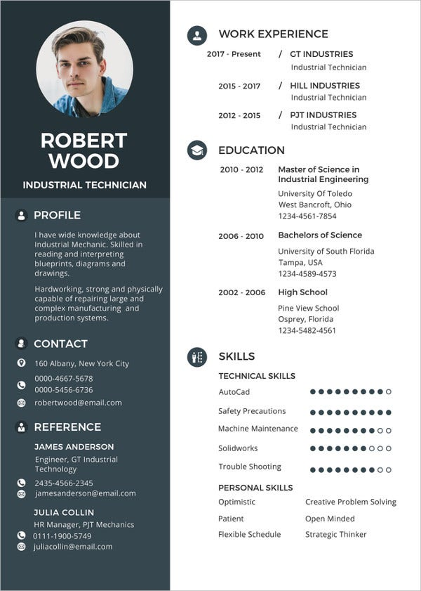 industrial technician resume template in publisher