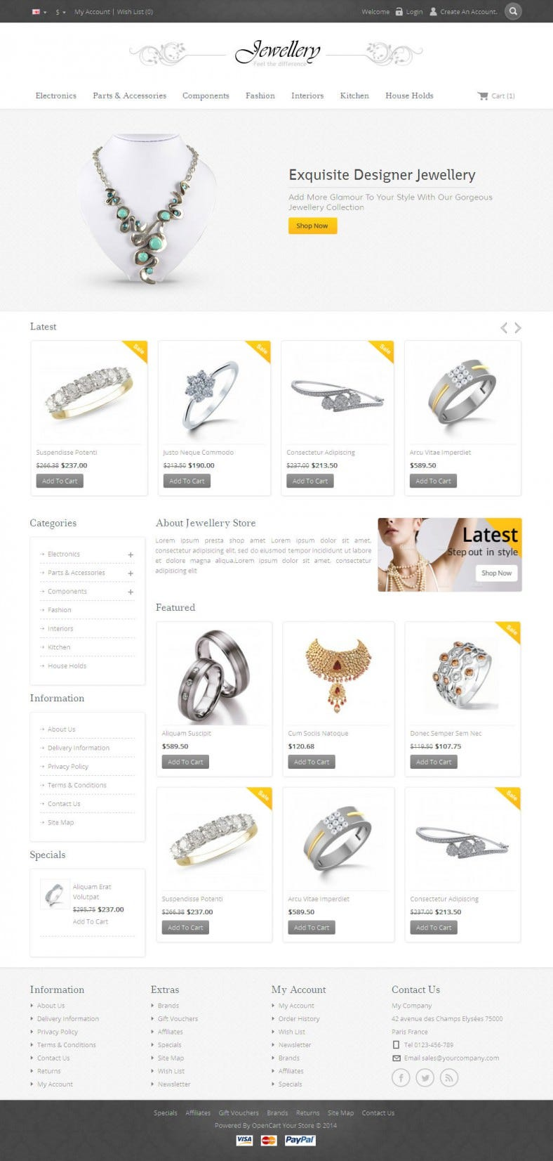 Opencart Responsive Jewellery Template